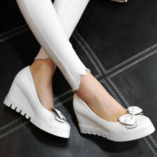 Women Platform Wedges High Heels Shoes Bow-Knot Slip On Round Toe Pumps