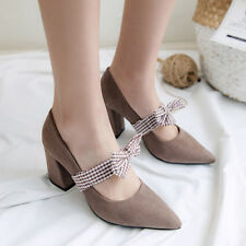 Women Block High Heels Pumps Bow-knot Sweet Pointed Toe Party Shoes