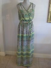 NWT KUT FROM THE KLOTH S & M Green Paisley Sleeveless Sheer Maxi Dress Tie Belt