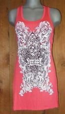 new VOCAL SHIRT BLING FLEUR de LIS TUNIC tank Vintage LARGE coral western sexy