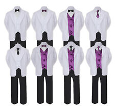 5-7pc Formal Black White Suit Set Eggplant Bow Necktie Vest Boy Baby Sm-20 Teen