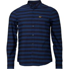 Fred Perry Mens Bold Stripe Long Sleeve Shirt Medieval Blue ALL SIZES