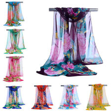 New Lady Hot Floral Women Chiffon Neck Scarf Soft Shawl Scarves Long Stole Wraps