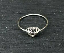 Genuine 925 Sterling Silver Cute Diamond Outline Ring, Size 6 Everyday Boho