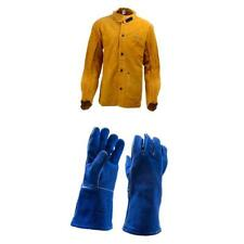 1 Pair of Welding Gloves and Large Leather Welding Jacket M L XL XXL