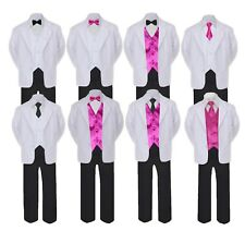 5-7pc Formal Black White Suit Set Fuchsia Bow Necktie Vest Boy Baby Sm-20 Teen