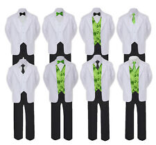 5-7pc Formal Black White Suit Set Lime Bow Necktie Vest Boy Baby Sm-20 Teen