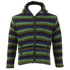 WOOL KNIT HOODIE JACKET CARDIGAN HIPPIE FESTIVAL JUMPER LINED Black Green Purple