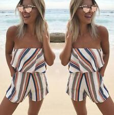 Women Short Sleeve Off Shouder Boat Neck Stripe Casual Jumpsuits Rompers