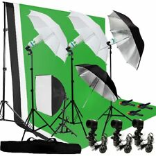 Photography Umbrella Lighting Kit Studio Bulb Muslin Backdrop Support Stand HT