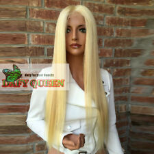 """26"""" Brazilian Virgin Human Hair&synthetic Blond Straight glueless Front Lace Wig"""