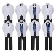 5-7pc Formal Black White Suit Set Navy Bow Necktie Vest Boy Baby Sm-20 Teen