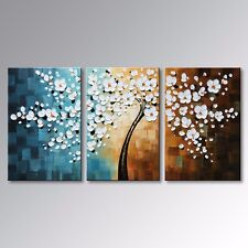 framed Hand-painted modern abstract white flower oil painting picture on canvas