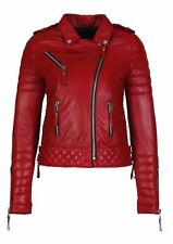 New Red Leather Jacket Women Quilted New Biker Motorcycle Size XS S M L XL XXL