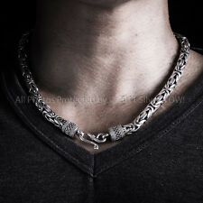 Bali Byzantine Necklace - 925 Solid Silver -Thick 8mm Wide Chain