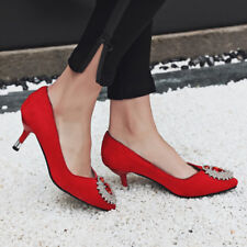 Women Pointed Toe Pumps Slim Med Heels Slip On Crystal Party Shoes
