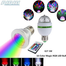 E27 3W Colorful Rotating/Remote RGB 3 LED Light Bulb Lamp Stage Disco KTV Party