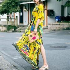 Women Ethnic Cotton Maxi Vintage V-neck Casual Printed Long Loose Dress