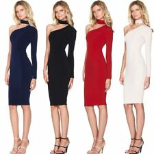 Women Autumn One Shoulder Long Sleeve Pencil Party Dress 4 Color