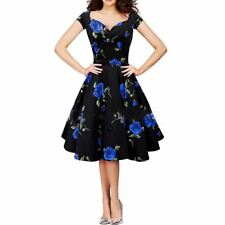 Women Rose Floral Print Ball Gown Party Cotton Dress for Summer DR-0135