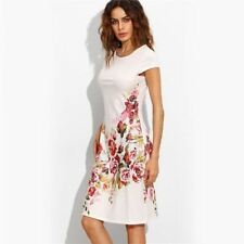 Women White Color Print Cap Sleeve Short Office O Neck Sheath Dress