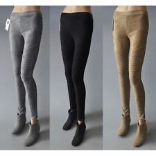 Women Vintage Slim Suede Ribbed Pants Skin Faux Leather Skinny Pleated Trousers