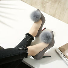 Women Sexy High Heels Stilettos Pointed Toe Feather Pumps Slip On Party Shoes
