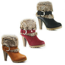WOMEN'S LADIES WINTER PLATFORM MID HIGH BLOCK HEEL ANKLE BOOTS SHOES SIZE 3-8