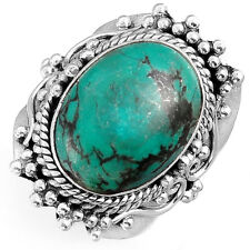 Solid 925 Sterling Silver Turquoise Ring Big Gemstone Boho Women's Size 6