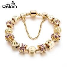 Fashion Jewelry Crystal Heart Beads Bracelet for Women Gold European DIY Charm