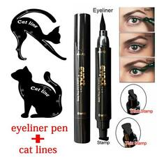 3Pcs Dual-ended Liquid Eyeliner Pen With Stamp+Cat Eyeshadow Ruler Template Card