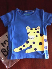 NWT 2/3 4/5 5/6 7/8 Mini Boden Blue Tee w/ Yellow Spotted Leopard Applicade