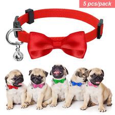 5pcs Small Dog Puppy Kitten Cat Bow Breakaway Collar Safety Quick Release & Bell