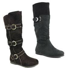 WOMENS LADIES WARM SLOUCH FASHION BUCKLE DETAILS MID CALF BOOTS SHOES SIZE 3-8