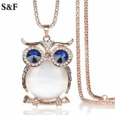Vintage Owl Pendant Necklace Top Quality Rhinestone Crystal Sweater Necklace