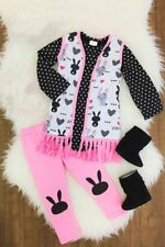 Girl's Boutique Clothing Easter Holiday Outfit Set 3 Pc Bunny Vest Top Leggings