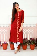Long Kurta 3/4 Sleeve Maroon Color New Design Top Tunic Women Ethnic Wear Kurti