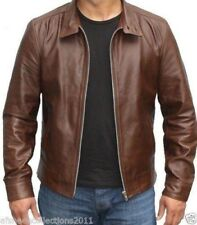 Jacket Leather Motorcycle Mens Brown Real Lambskin New Biker Coat Vintage MJ780