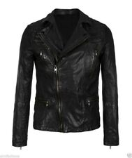 Jacket Leather Motorcycle Mens Black Real Lambskin New Biker Coat Vintage MJ784