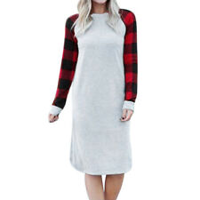 Women Casual Long Sleeve Dress Leisure Plaid Printed Loose Casual Dress Braw