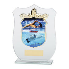 Swimming Glass trophy Award in 4 Sizes with FREE Engraving up to 30 Letters