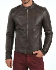 Jacket Leather Motorcycle Mens Brown Real Lambskin New Biker Coat Vintage MJ860