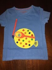 NWT 3/4 4/5 or 5/6 Mini Boden Blue Sht/Sl Tee Yellow Puffer Blow Fish Applicade