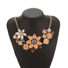 Women Fashion Crystal Rhinestone Flower Pendent Necklace Link Chain HYFG
