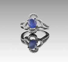 925 Sterling Silver Ring with Oval Blue Sapphire Gemstone Handcrafted