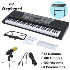 Music Electronic 54/ 61 Key Keyboard Electric Piano Organ w/ 3 Lesson Stand Type