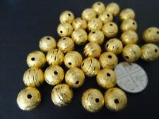 25pcs 10mm Gold / Silver coloured round carved stardust beads jewellery findings