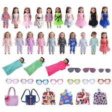 18inch Doll Clothing Set Pjs Skirt Glasses Bag for American Girl Doll Accessory