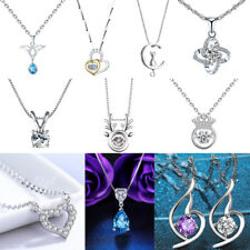 Fashion 925 Sterling Silver Plated Charm Pendant Necklace Chain Jewelry Gift  HP
