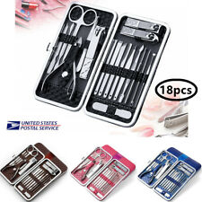 18pcs Manicure Pedicure Set Stainless Nail Clipper Kit Cuticle Grooming Beauty